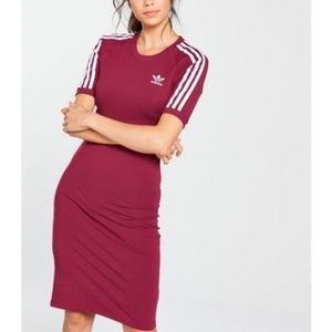 Adidas Originals 3 Stripe Burgundy Dress dh3148